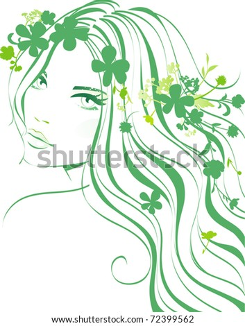 girl floral - stock vector