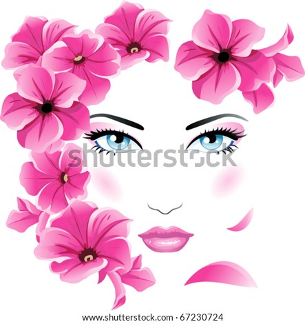 Girl Floral face - stock vector
