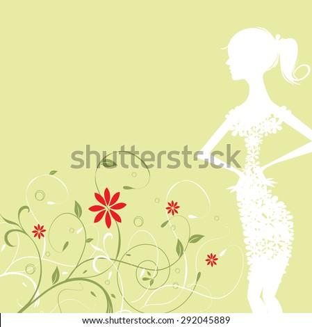 Girl floral vector composition - stock vector