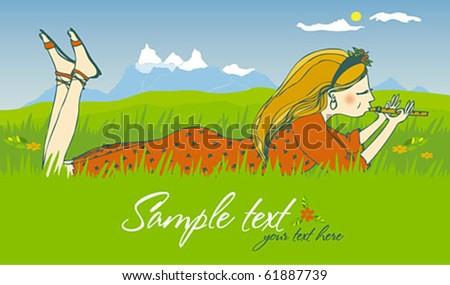 Girl&flute - stock vector