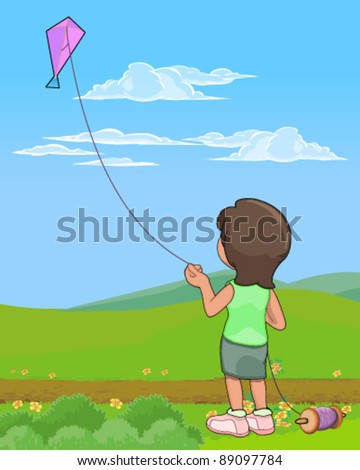 Girl flying kite - stock vector