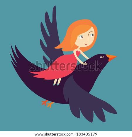 girl flying on bird - stock vector