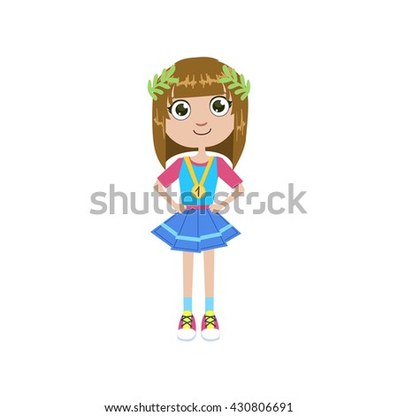 Girl Future Champion Simple Design Illustration In Cute Fun Cartoon Style Isolated On White Background
