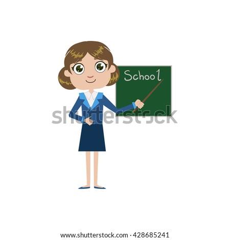 Girl Future Teacher Simple Design Illustration In Cute Fun Cartoon Style Isolated On White Background - stock vector
