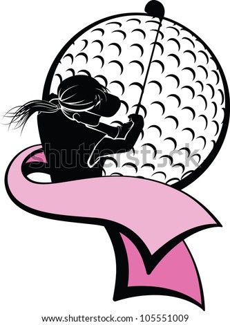 Girl Golfer with Pink Ribbon - stock vector