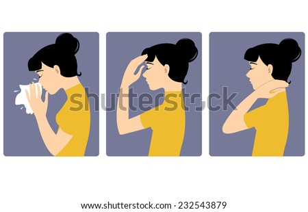 Girl got cold Three vector image of a girl complaining about headache, sore throat and cold. Each image shows symptoms of a cold  - stock vector