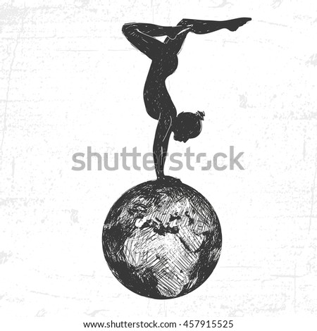 Girl gymnast on the earth globe. Drawn in a graphic style. - stock vector