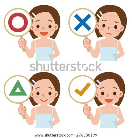 girl have a plate of sign to answer correct or incorrect - stock vector