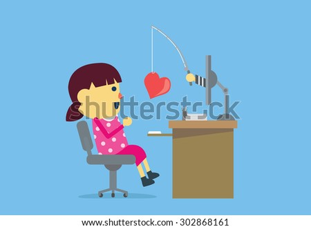 Girl have been deception from internet criminals by means of make her falling in love. - stock vector
