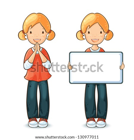 Girl holding a board for text and happy girl exclaiming Yes! - stock vector