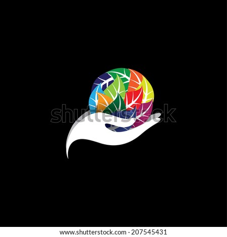girl holding a colorful leaves - spa concept vector. The graphic icon also represents protecting natural resources, organic products, wellness industry, beauty industry, spa resorts - stock vector