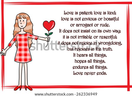 girl holding a love and say: Love is patient - stock vector