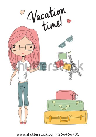 Girl holding a passport standing next to suitcases, ready for vacation, vector illustration - stock vector