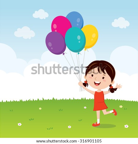 Girl holding balloons. Happy girl gesturing with colorful balloons. - stock vector