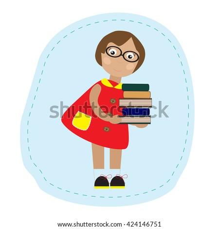 Girl holding books - stock vector