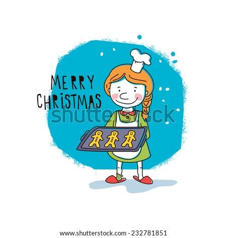 Girl holding Christmas cookies. Vector illustration - stock vector