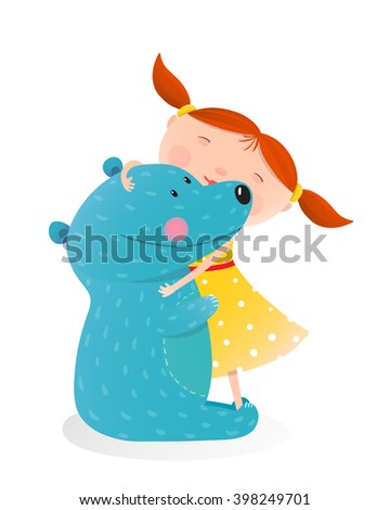 Girl hugging toy cute bear. Little girl embracing bear. Child with toy teddy, cheerful and smile kid. Vector illustration - stock vector