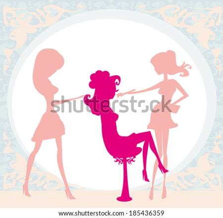 girl in a beauty salon  - stock vector