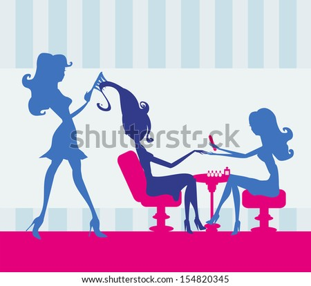 girl in a beauty salon, manicure and hairdresser - stock vector