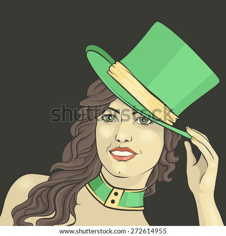 girl in a green top hat on a dark background