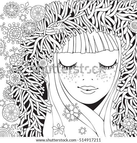 girl in a knitted fluffy hood pattern for coloring book winter snowflakes sketch - Girl Coloring Book