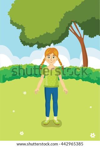 girl in a meadow vector - stock vector