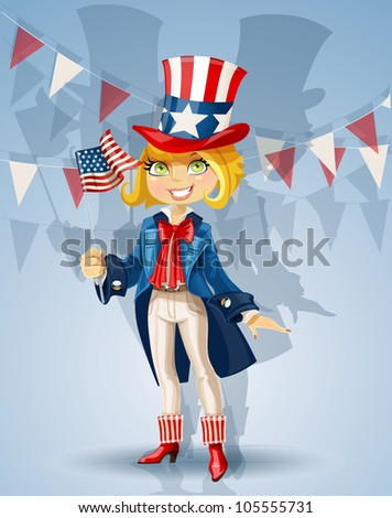 Girl in a suit of Uncle Sam and with flag Celebrates 4th July - stock vector