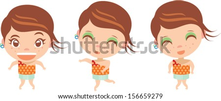Girl in a three - stock vector