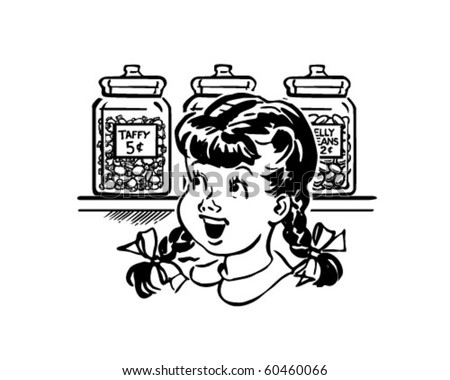 Girl In Candy Store - Retro Clip Art - stock vector