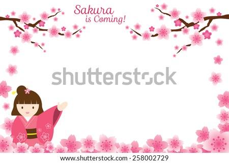 Girl in Kimono with Cherry Blossoms or Sakura flowers Frame - stock vector