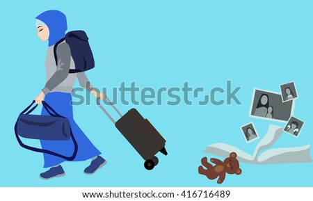 Girl in Muslim clothing leaving the family home. Emigration. - stock vector