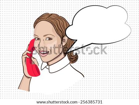 girl in pop art style talking on the phone, vector illustration - stock vector