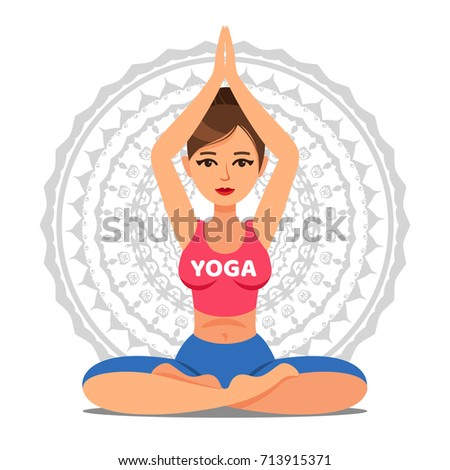 Girl in pose of yoga. Lotus pose. Woman going yoga exercise. Meditation or relaxation. Vector illustration