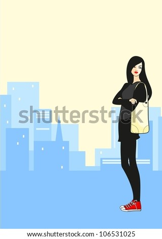 Girl in the city - stock vector