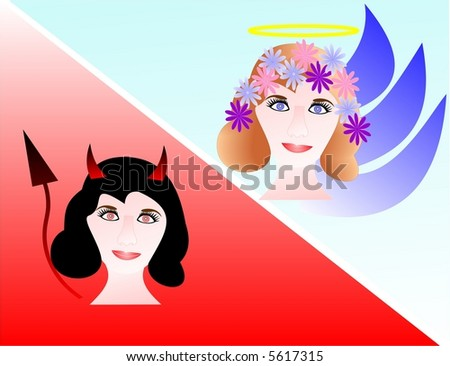 Girl in two images: angel and devil - stock vector