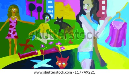 girl in underwear with background with children and dog, painting