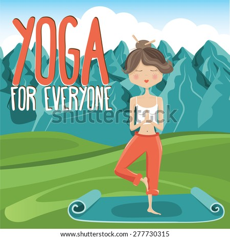 Girl in yoga pose on mountain background 2 - Vector Illustration  - stock vector