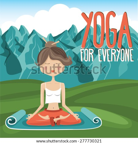 Girl in yoga pose on mountain background 3 - Vector Illustration - stock vector