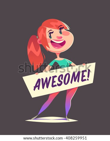 Girl is holding a banner. Vector illustration. - stock vector