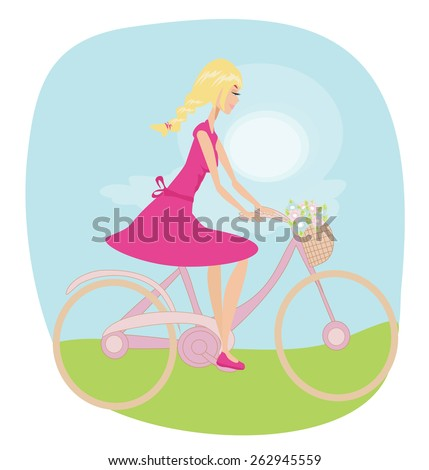 Girl is riding bike on spring field. - stock vector