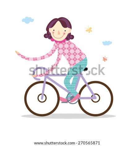 Girl is riding bike on spring field. Vector illustration. - stock vector
