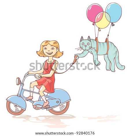 Girl is riding the bicycle with the wondering cat flying with air balloons on a leash.