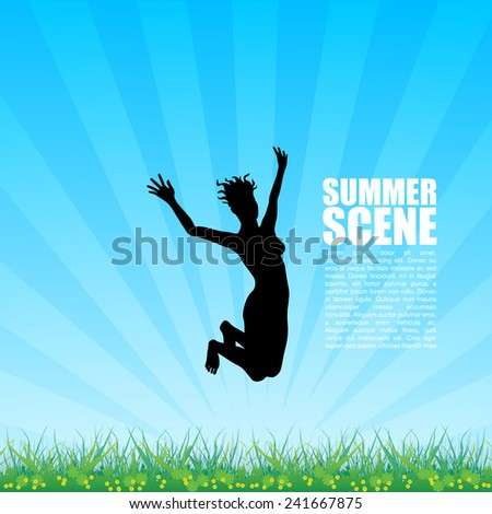 Girl Jumping Over Meadow - stock vector