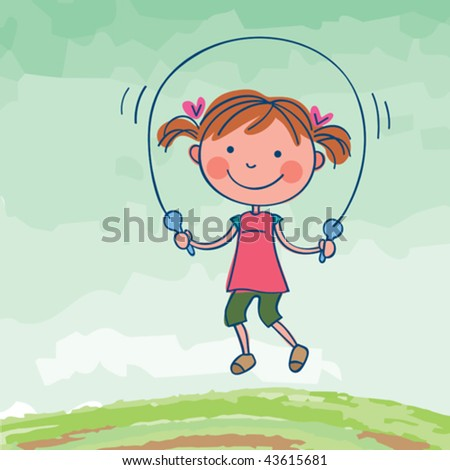 Girl jumping rope. Vector illustration of a cute little girl playing outdoors. - stock vector