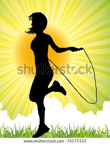 girl jumping with the skipping rope - fitness poster - stock vector