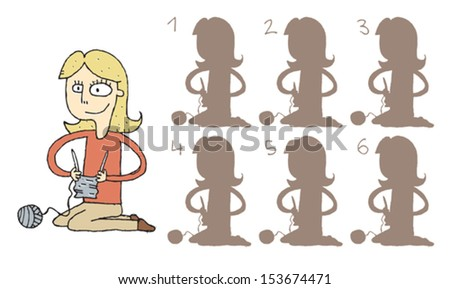 Girl Knitting Shadows Visual Game. Task: find the right shadow image! Answer: No. 4. Illustration is in eps8 vector mode! - stock vector