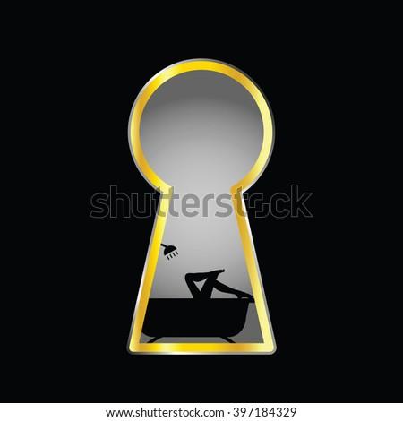 girl legs illustration in bathtube behind keyhole silhouette - stock vector