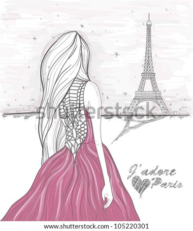 Girl looks at eiffel tower. Hand Drawn paris postcard. - stock vector
