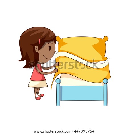 girl making bed stock vector 447393754 shutterstock