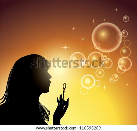 Girl making soap bubbles - stock vector